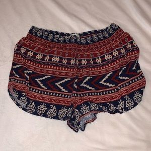 Forever 21 red, white, & blue aztec flowy shorts